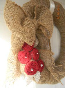 Here is my burlap valentines wreath that is still up and it's may!