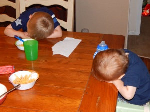 Here my sons are teaming up on me refusing to eat lunch... it's mac and cheese!?! I mean, come on!!