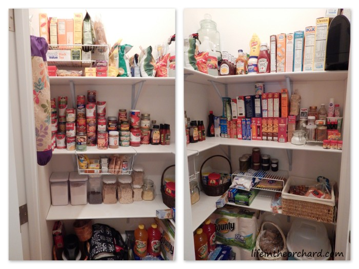My pantry before my 2 week no spend challenge- Pretty well stocked